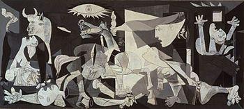 El guernica. Obra realizada por Picasso en el año 1937 y perteneciente al cubismo.   Una de las características más importante de la obra es la gama de colores. Blanco, grises y negros para de alguna manera parecerse a un periódico que estuviera dando la noticia de la guerra.