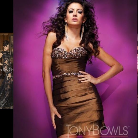 NWOT Strapless Dress & Bolero by Tony Bowls NWOT Tony Bowls brown cocktail dress.  Price is firm. Tony Bowls Dresses Strapless