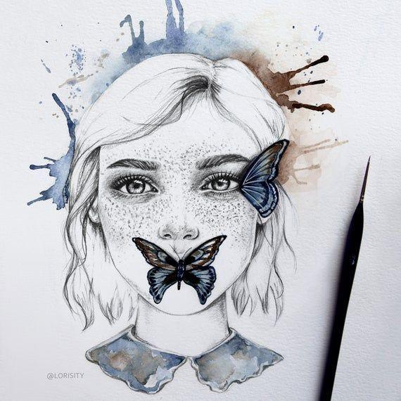 Magical Beautiful Girl And Butterfly Wall Art Print Modern