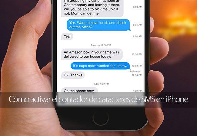 Cómo activar el contador de caracteres de SMS en iPhone