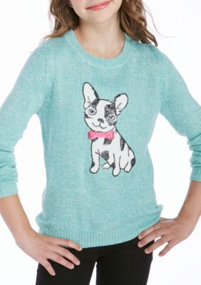 Pink Republic Girls 7-16 Mint Sweater French Bulldog - Mint