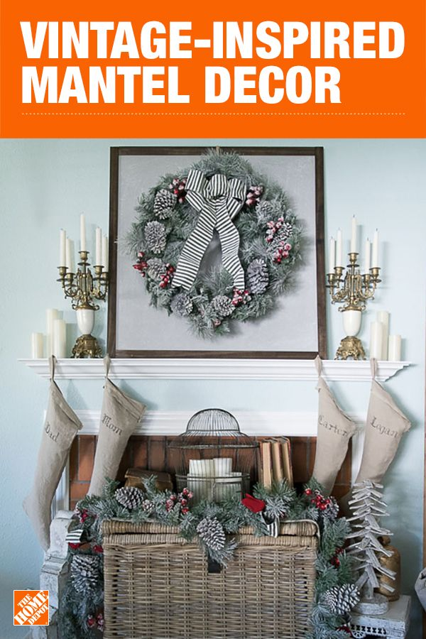 Dress your mantle for the holidays with soft and neutral tones as well as vintage decor and DIY items. Snowy pine garland adorns a large basket and Inglow Flameless Candles shine atop the mantel to complete this timeless look. Click to see how blogger Kendra Williams brought this festive look to life.