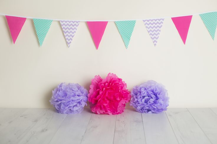 Baby Photo Set. Purple, Pink & Jade Bunting $6.00 a metre.  Photo Credit: Lullaby Grace Photography - Queenstown New Zealand