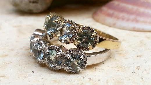 Unusual engagement rings Pave Diamond Round Brilliant Cut Aquamarine Gemstone Ring cocktail ring Stackable Odd Differnt Sparkly Eternity