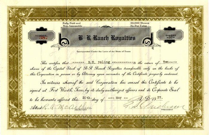 Houston Oil Company Of Texas Stock Certificate