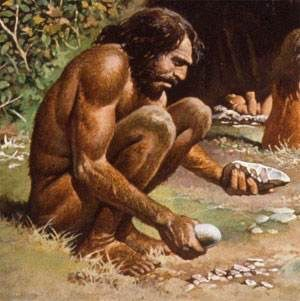 The development of tool making skills . Neanderthal man had a shorter opposing thumb than modern man , meaning he was less dexterous .