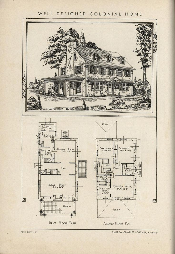 571 best images about vintage house plans on pinterest for Antique colonial house plans
