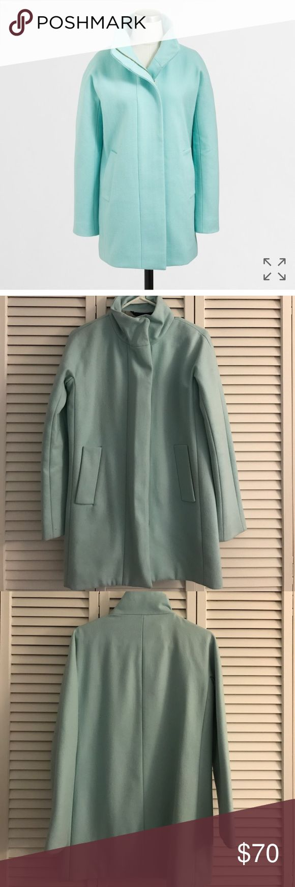 🔷 LAST CHANCE 🔷 J. Crew Factory City Coat Gorgeous mint green City Coat from J. Crew Factory. Signs of wear around the cuffs & collar is pictured. Also has some light piling due to the fabric content. Still has tons of life left & a good dry clean would definitely help! No trades, No holds No PayPal or Mercari No try ons or modeling, I will try to find a picture of an item on by request. All offers must be made through the Make an Offer button. All offers in comments will be ignored. No…