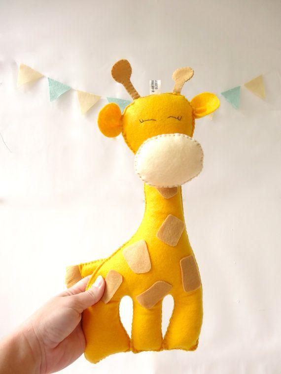 Giraffe Stuffed Toy, Felt giraffe, Nursery decor, Plush animal, baby gift, baby shower gift by LaPetiteMelina