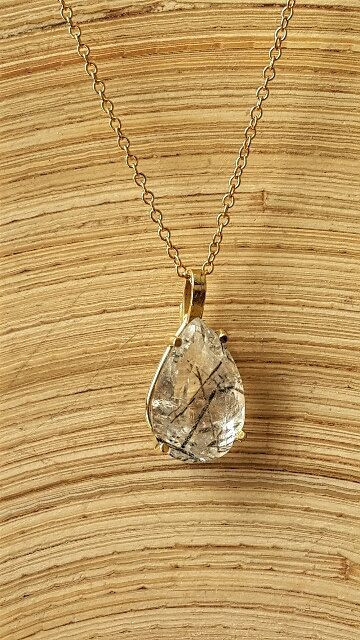 SALE 50% off Pear necklace Rutile Quartz necklace by OakaTitan