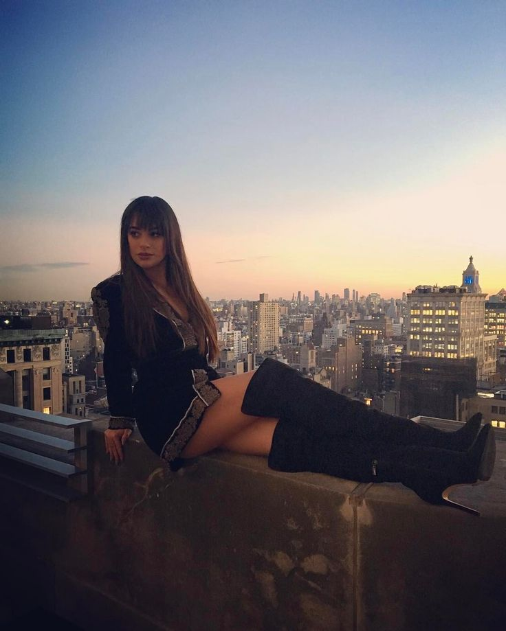 Lea Michele on top of Columbia Records in NYC