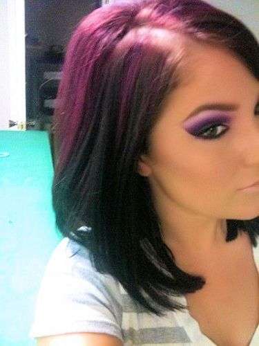 Purple Love.Purple Hair, Hair Colors, Eye Makeup, Hairmakeup, Black Hair, Hair Makeup, Purple Eyeshadow, Hair And Makeup, Eyemakeup