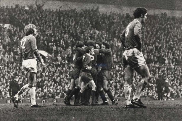 November 1970. Merseyside Derby. Liverpool players celebrate the winning goal with scorer Chris Lawler.