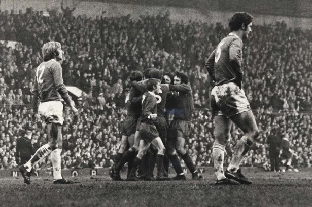 November 1970. Merseyside Derby. Liverpool players celebrate the winning goal with scorer Chris Lawler.