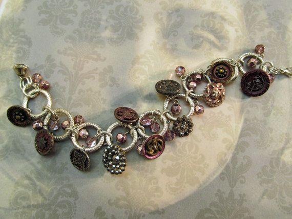 Repurposed pulsante antico fascino braccialetto