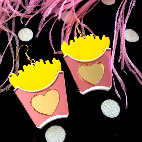 French Fries Acrylic Earrings by imyourpresent on Etsy