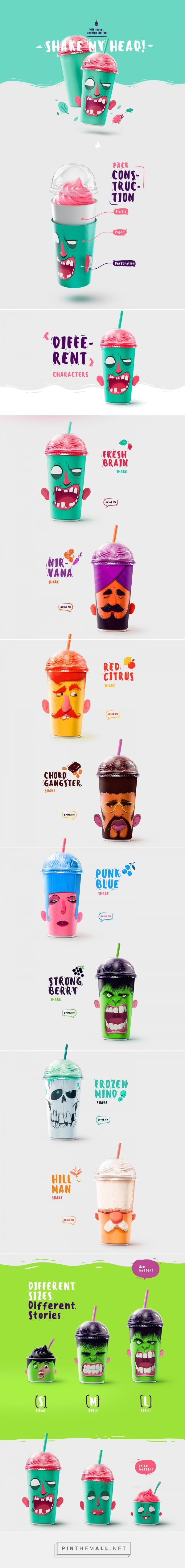 """Shake my Head"" milk shakes packing by Rustam Usmanov"