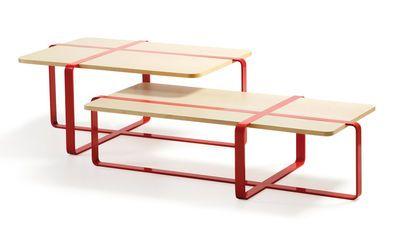 Scopri Tavolino Sake -/ 120 x 60 cm, Legno naturale / Acciaio rosso di RS BARCELONA, Made In Design Italia