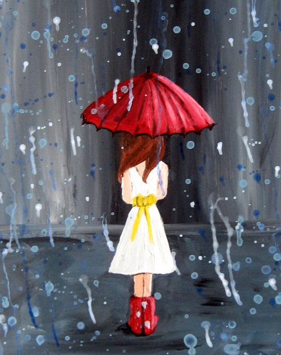 Giclee Print Rain Girl Walk through the Rain by rachelledyer