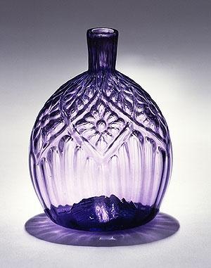 "Very rare purple colored American ""pocket flask."" 18th century."
