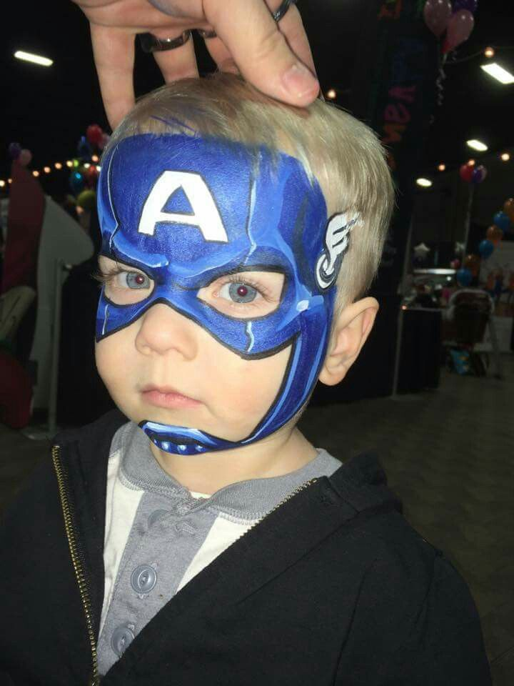 Captain America face painting design by Dutch Bihary