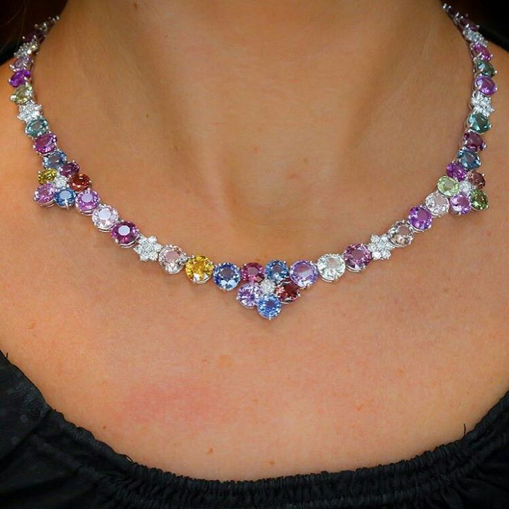 Yamron Jewelers_ Sapphires come in every color of the rainbow. This incredible necklace just joined our lovely family at Yamron. You'll want to see this exquisite piece in person.