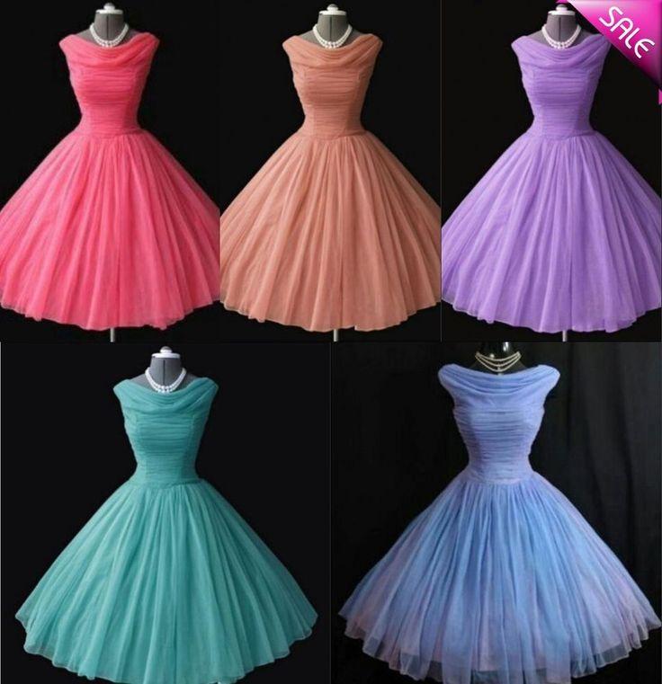 1950 s Vintage Tea-length Short Prom Evening Bridesmaid Dresses Cheap Stock 6-16