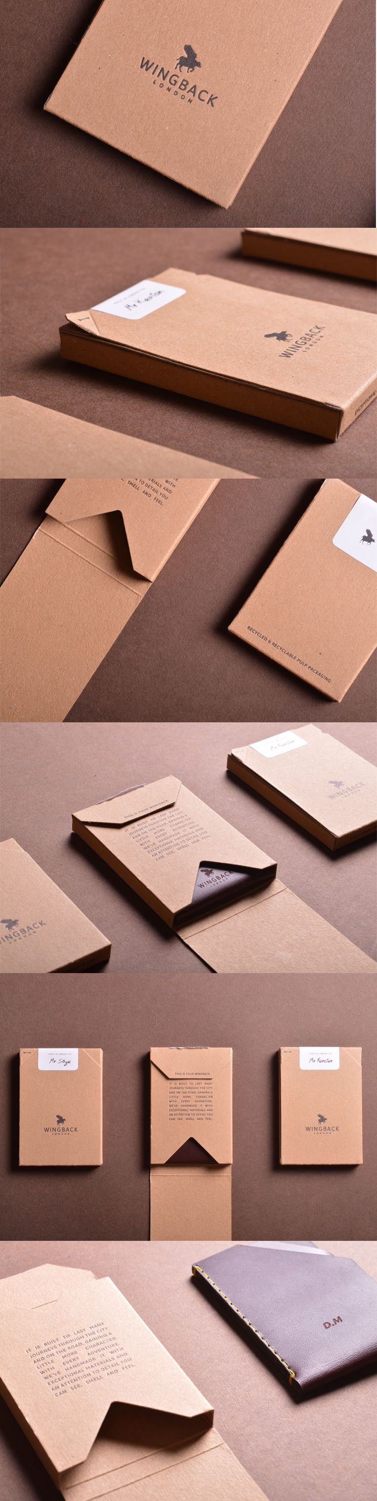 New Packaging design for small Leather goods by Wingback. Made from recycled and recyclable pulp.