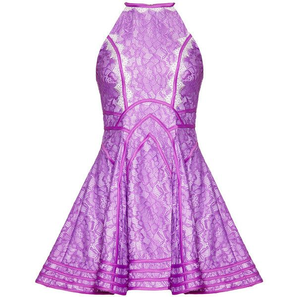 DAPHNE Pale Purple High Neck Prom Dress ($290) ❤ liked on Polyvore featuring dresses, vestidos, short dresses, holiday party dresses, cocktail prom dress, lace dress, purple prom dresses and purple party dresses