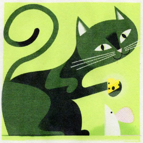 Illustration by Matthew Hollister (via grain edit) #MatthewHollister #cat #cheese #mouse: Cat Art, Matthew Hollister 03 Jpg, Cat Chee, Animal Illustration2, Illustrations Cat, Prints Cat, Cat Mouse, Art Cat, Retro Illustrations
