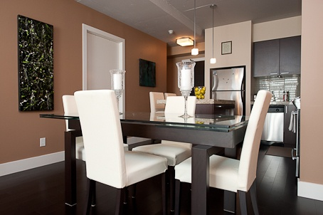 condo without formal dining room modern with a great color scheme