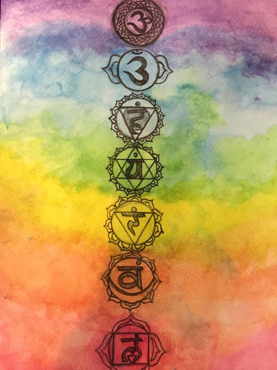 Large watercolor chakra painting hand drawn and painted by me. Signed and dated (2015) by thirdeyetrees on etsy