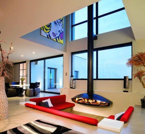 Sunken Living Room Around Fireplace | Most Beautiful Pages