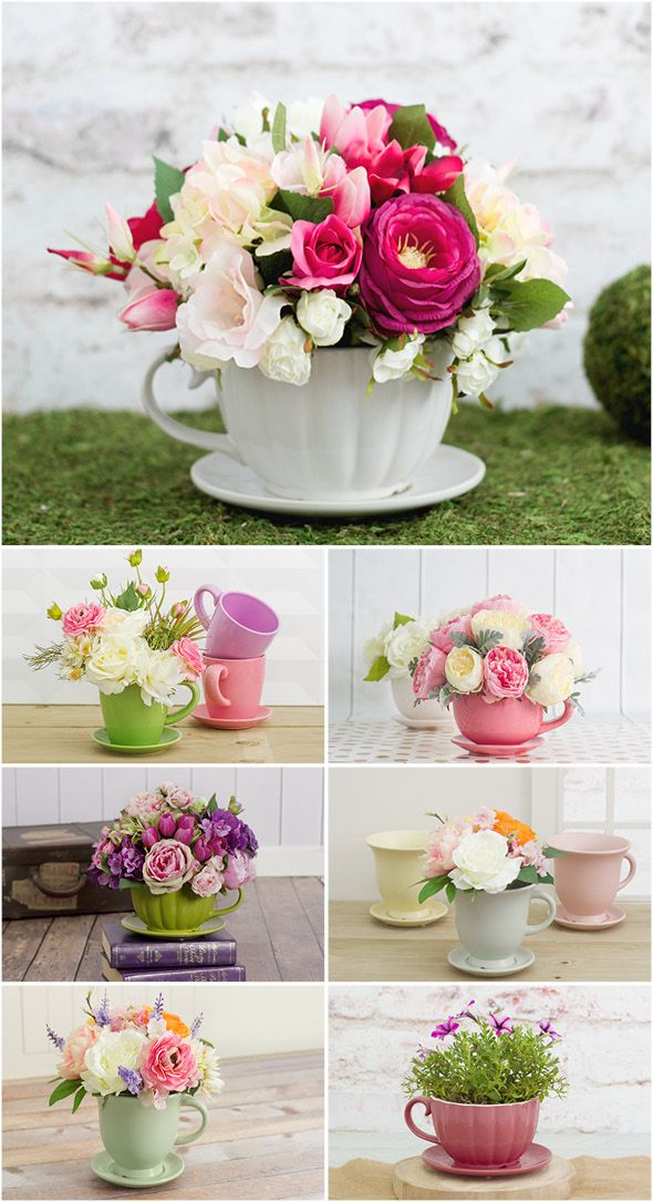 floral teacup arrangements idea for Mother's Day - The BEST Easy DIY Mother's Day Gifts and Treats Ideas - Holiday Craft Activity Projects, Free Printables and Favorite Brunch Desserts Recipes for Moms and Grandmas