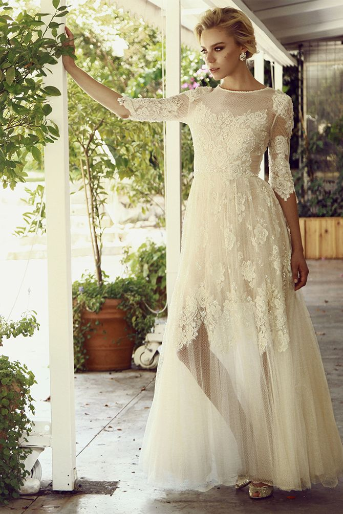 1324 best images about 3 4 sleeve wedding dresses on for Best wedding dresses with sleeves