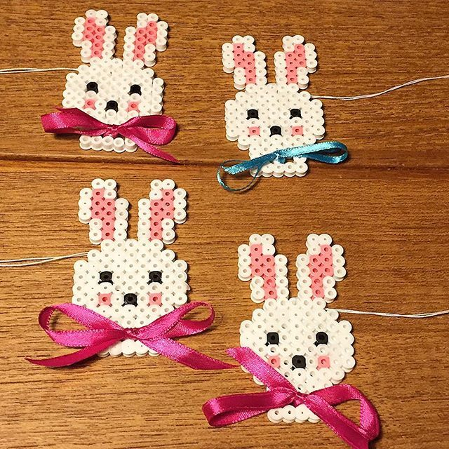 Easter bunny ornaments hama beads by tjelehansen - Pattern: https://de.pinterest.com/pin/374291419012637541/