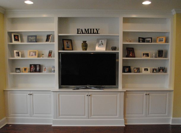 Built in cabinets custom media cabinets and built in 39 s for Media room built in cabinets