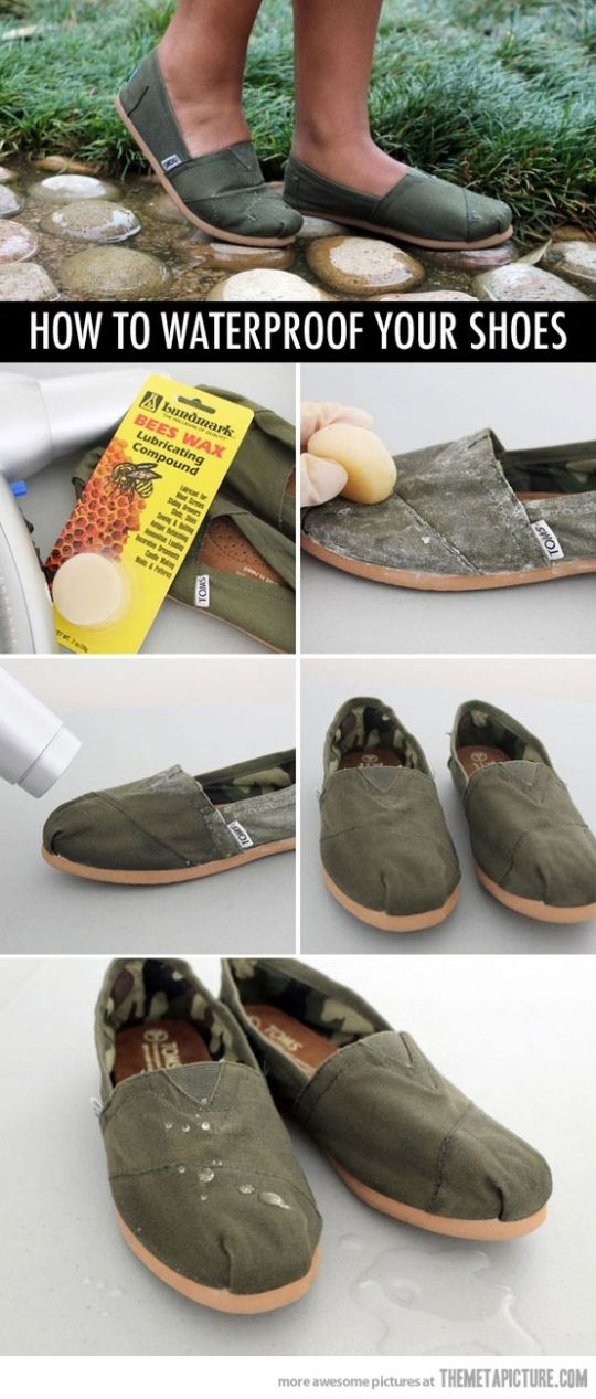 How to waterproof Toms @Allison Rice Kenney this might have come in handy when we walked home that one day... :)