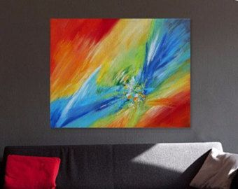 Resumen pintura Original acrílico, lona de arte de pared colorido, empaste, paleta cuchillo de arte, pintura, grande roja moderna arte contemporáneo 22 x 28