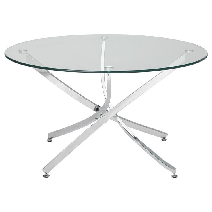 Glass Coffee Table with Curved Metal Legs
