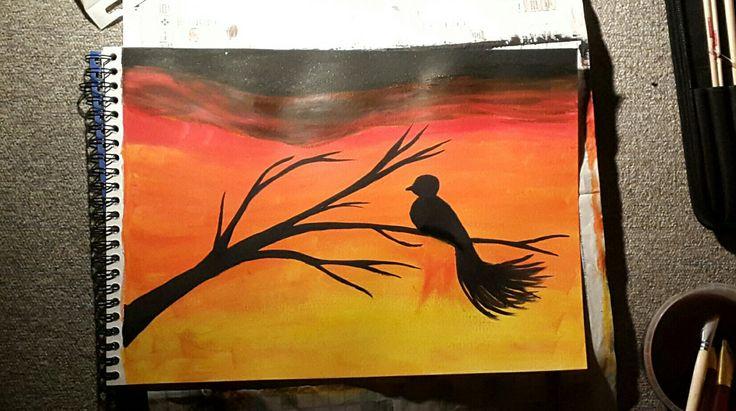 Sunset,bird, acryl