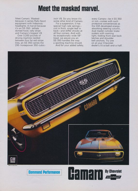 1966 Chevrolet Camaro SS 350 Muscle Car Ad Yellow Sportscar Vintage Auto Advertisement Art Print Garage / Man Cave Wall Art