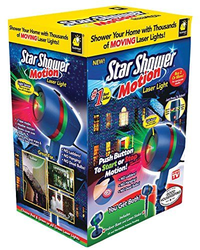 Star Shower Motion Laser Lights Projector by BulbHead  Use the Star Shower Motion decorative lights for Christmas, birthday parties, BBQs, or everyday decoration  Two laser light modes: moving stars or still  Two motion light color options: red/green lasers or green only  Light sensor: turns on at dusk, turns off in daylight. Great for the outdoors  Includes extra-long stake and indoor base
