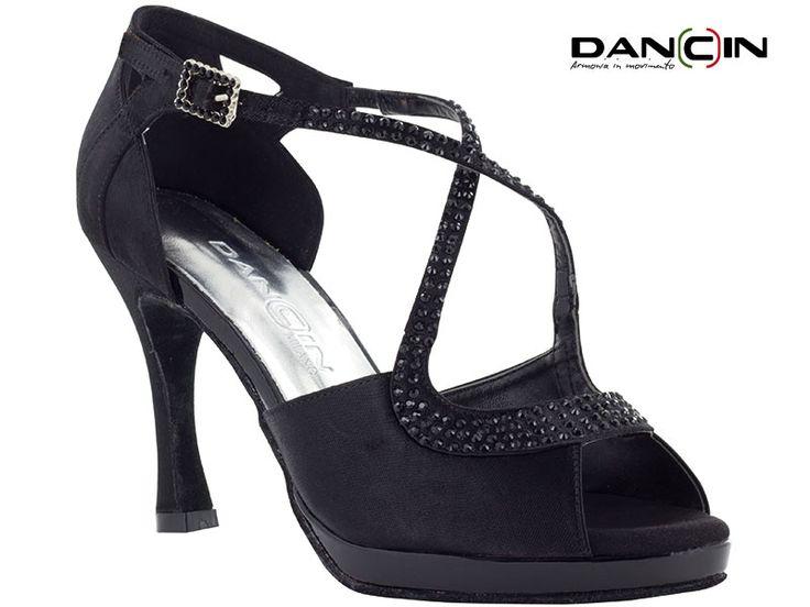 Sandalo ballo plateau punta aperta in raso con listini incrociati