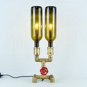 Φωτιστικό industrial με μπουκάλια και  υδραυλικά εξαρτήματα. Μοναδικό χειροποίητο πρωτότυπο χριστουγεννιάτικο δώρο. Τώρα διαθέσιμο στο everythinginart.com