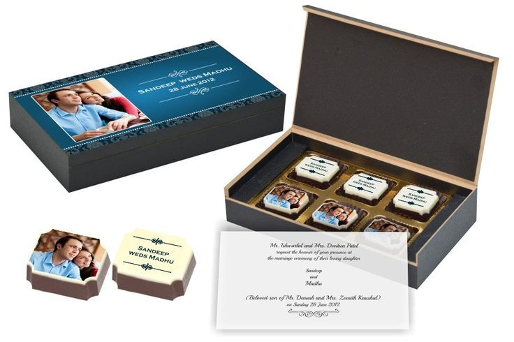 Wedding Invitation Gifts - 6 Chocolate Box - All Printed Candies (10 Boxes)