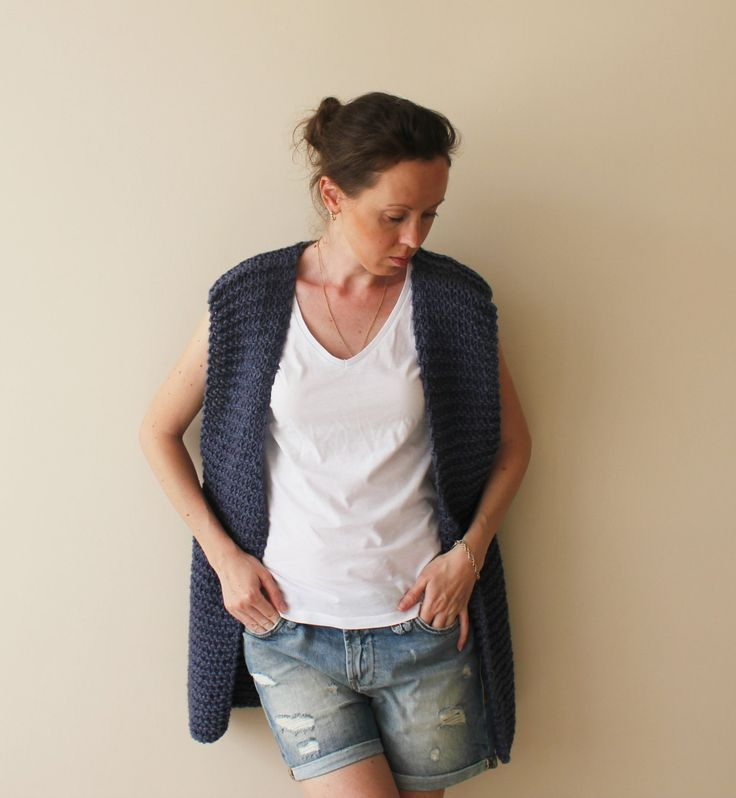 Vest Sweater Cardigan / Chunky Knitted Denim Blue Vest Coat / Denim Knit Vest Cardigan Sweater / Ready To Ship by GaDeCreations on Etsy