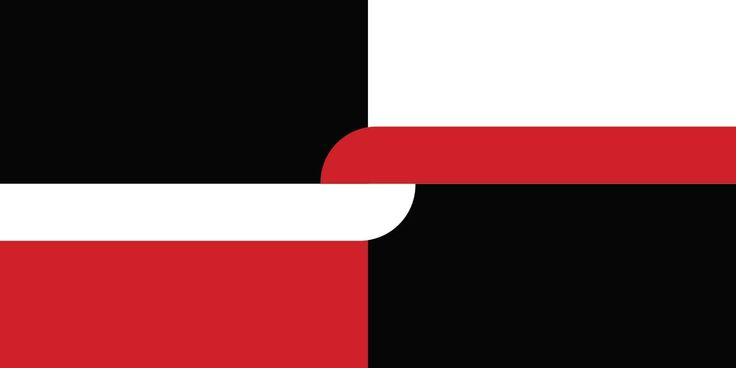 Harakeke by Brett King from Canterbury, tagged with: Black, Red, White, Horizontal stripes, Koru, Vertical stripes, Māori culture, Multiculturalism, Unity.