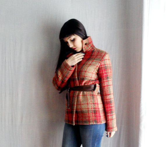 Plaid wool jacket  - wool coat wool cardigan winter jacket womens blazer on Etsy, $127.46