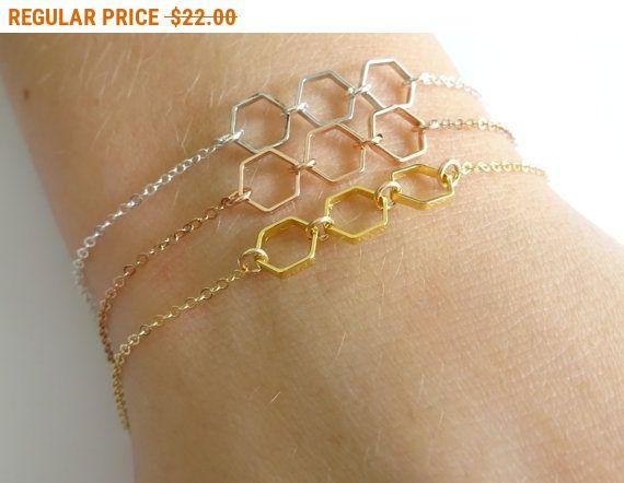 Zeshoek armband honingraat gouden armband bruidsmeisje